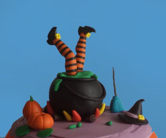Halloween Fondant Cake Topper Witch's Accident in the Pot, Witch Feet, Witch Broom and Hat by allsugarheart on Etsy