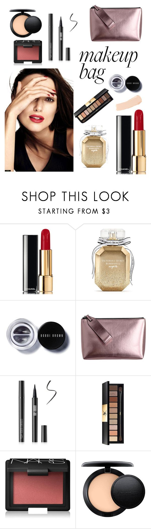 """""""What's Inside My Makeup Bag?"""" by azzahrajulia ❤ liked on Polyvore featuring beauty, Chanel, Victoria's Secret, Bobbi Brown Cosmetics, Yves Saint Laurent, NARS Cosmetics, MAC Cosmetics and La Mer"""
