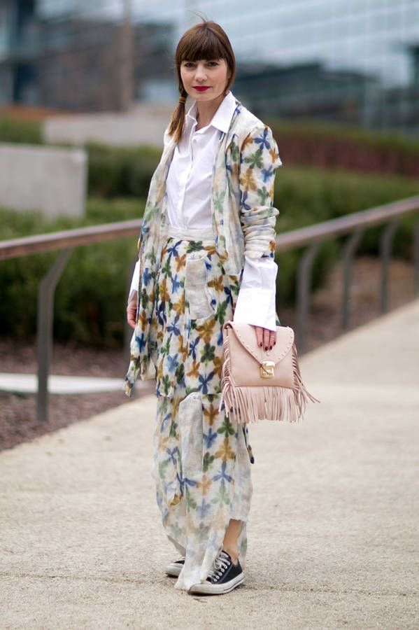Blogger Fregola in Yojiro Kake long blazer and long skirt