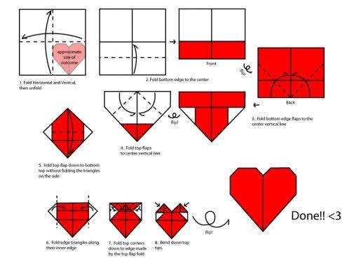 оригами сердце схема