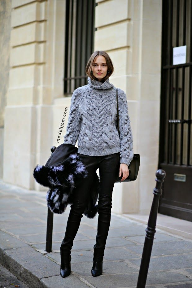 great knit. #MinaCvetkovic #offduty in Paris.