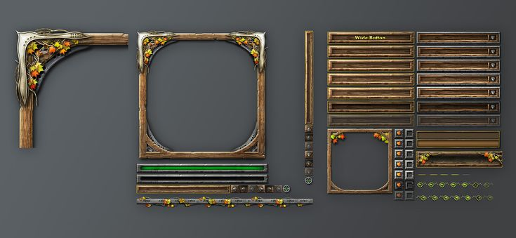 UI design example for a fantasy game- Just the basics of what one might need for a game. No downloads or anything. Neat frames though!
