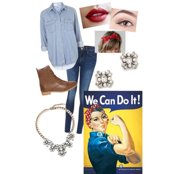 Created my mugsysmommy on Polyvore. Rosie the riverter halloween costume