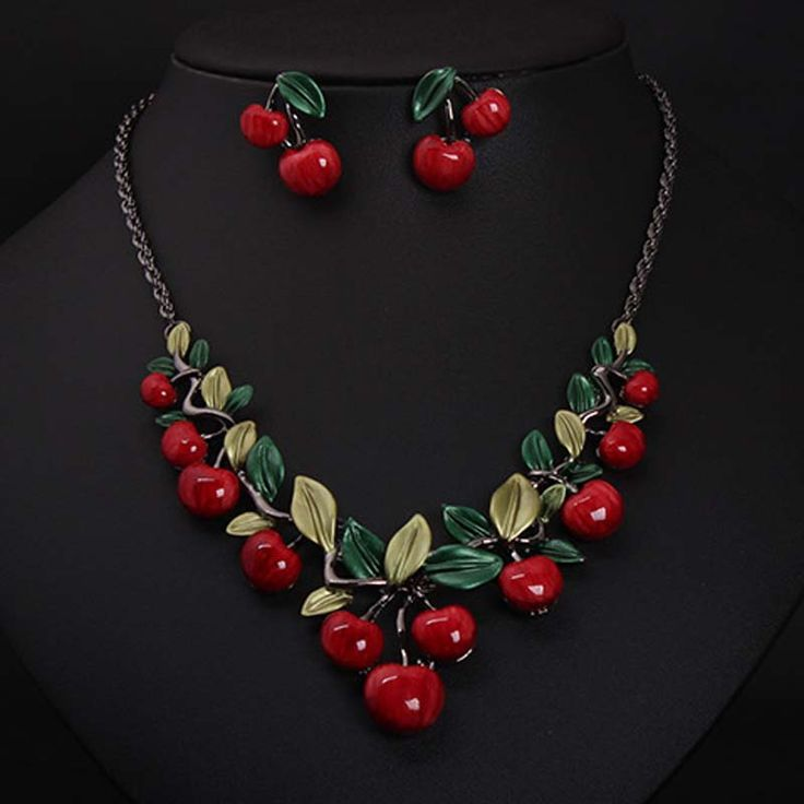 NEW Arrival 2016 Red Cherry Pattern Necklace Earrings Jewelry Set Fashion Statement Jewelry for Party Set Cute Gift