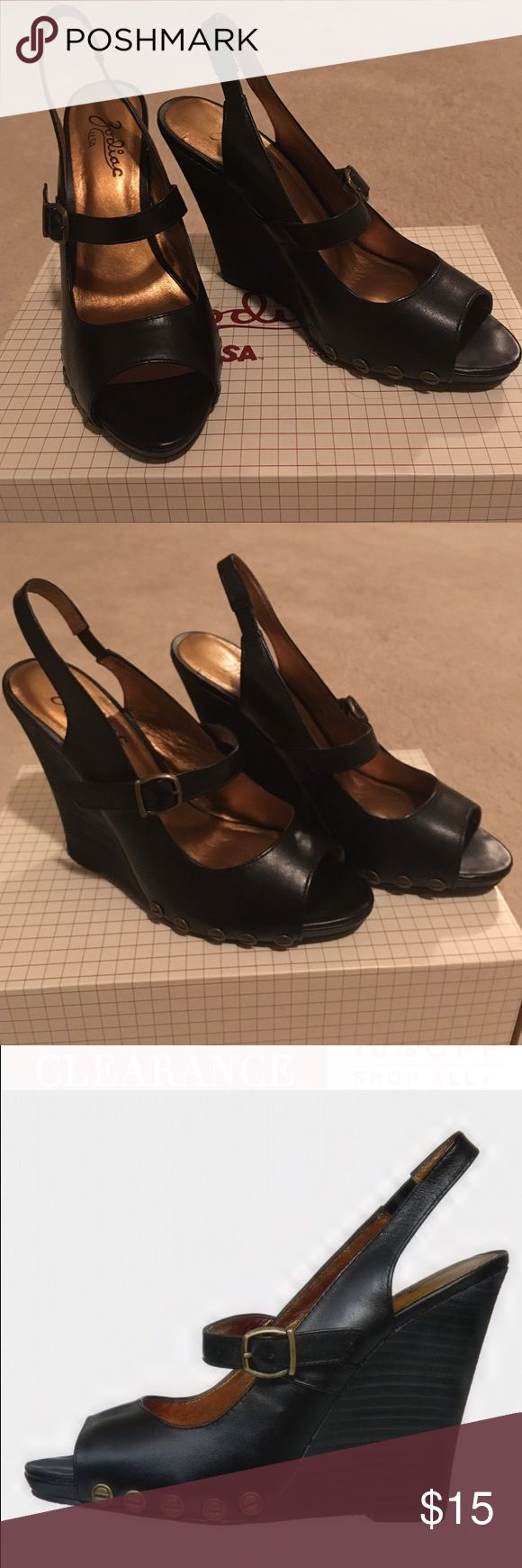 Black leather wedge Black leather wedge sandal Shoes Sandals