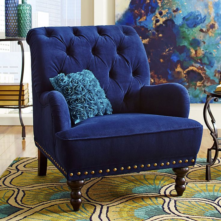 Chas Navy Blue Velvet Armchair Chairs For Living Roomvelvet