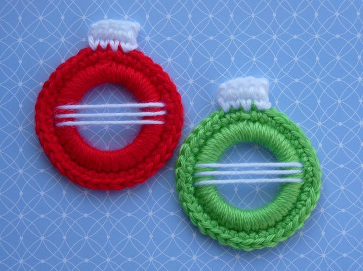 """Christmas Ball Ring Ornament is the 7th and last ornament in my """"Ringing In Christmas"""" Ornament Series. Each ornament is made by crocheting..."""