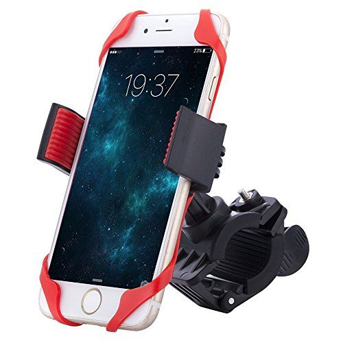 Bike Phone Mount Bicycle Holder Comsun Universal Cradle Clamp Holder Stand With Rubber Strap Plastic Black * You can find out more details at the link of the image.