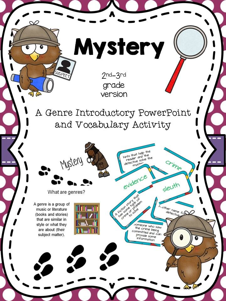 Mystery Genre Intro And Activity For 2nd 3rd Grade From Atbot The Book Bug Mystery Genre Genre Activities Mystery Writing Genre worksheet 3rd grade
