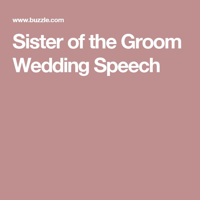 Sister Wedding Speeches