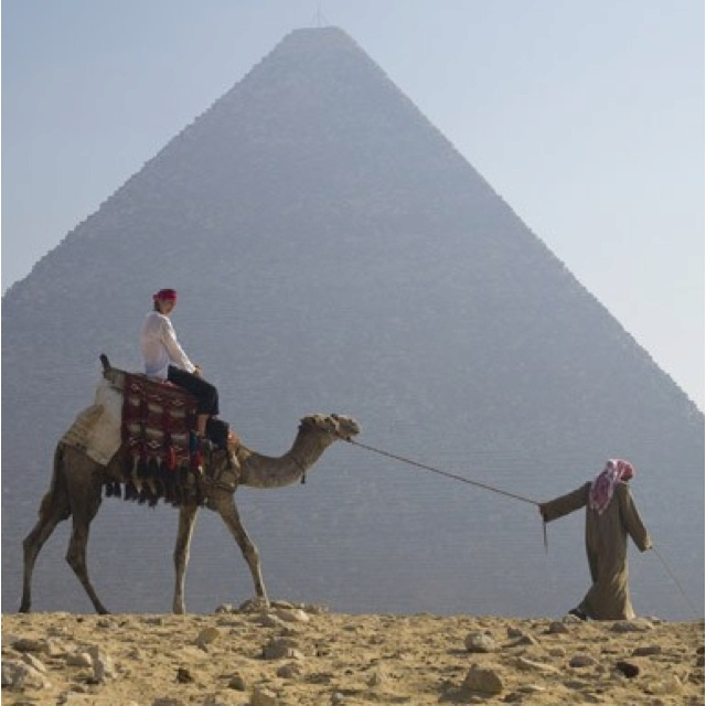 Ride a camel to a pyramid