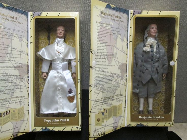 Pope John Paul II & Benjamin Franklin Timecapsule Toy Action Figure Dolls