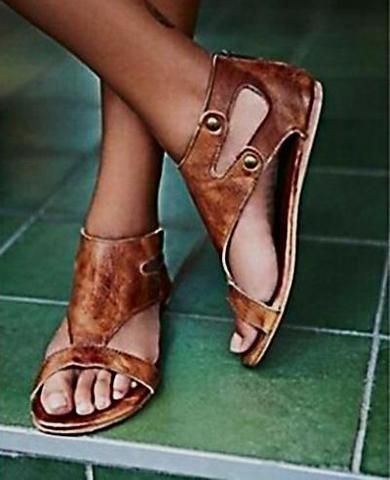 c99429447580b7 Rivets Hollow Fashion Women Leather Sandals Flats Shoes in 2019 ...