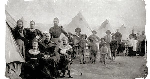 Boer woman and children in a British concentration camp waiting for rations - Anglo Boer War