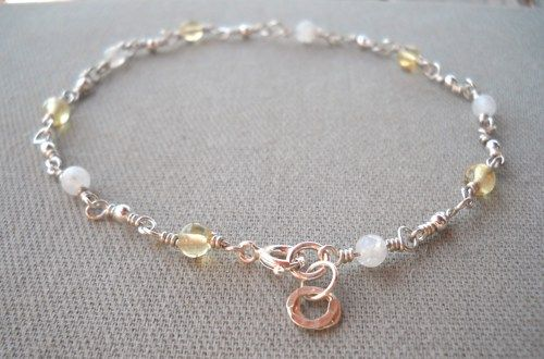 925 Sterling Silver Citrine,Rainbow Moonstone Anklet  | pavlos - Jewelry on ArtFire