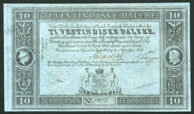 Danish West Indian Ten Dollars banknote (Ti Vestindiske Dalere)