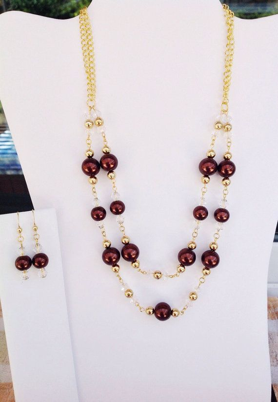 Double Strand Rich Brown Glass Pearl Necklace and por SparklyBliss
