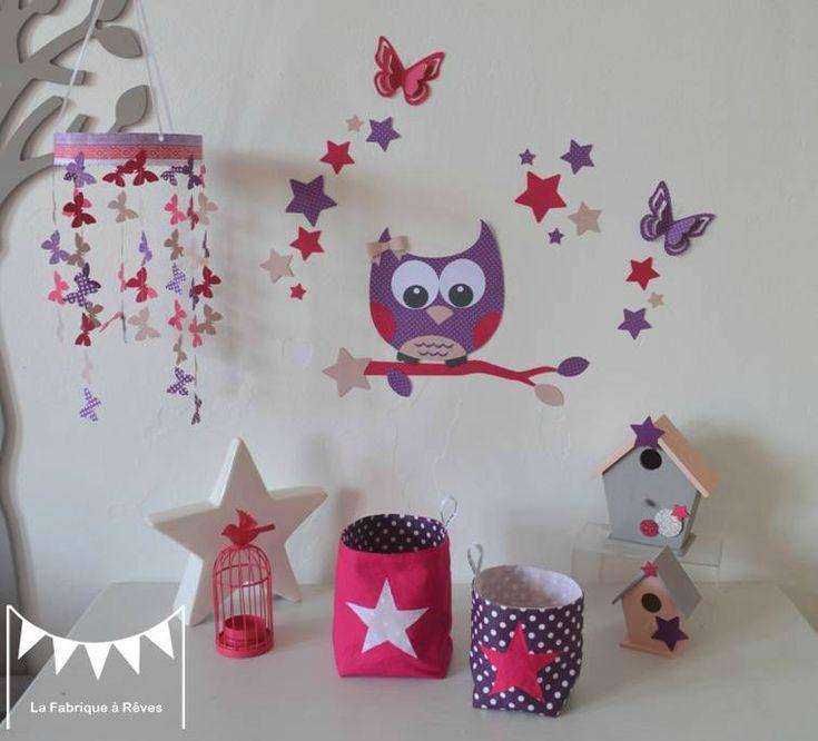 décoration chambre enfant bébé fille rose fuchsia violet rose poudré hibou étoiles papillons 2