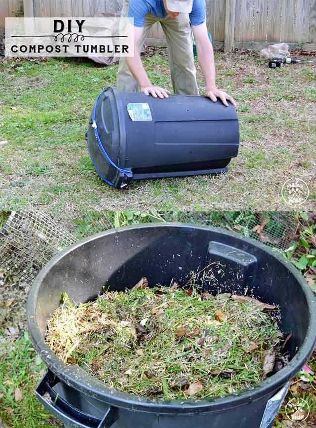 Cheap and Easy DIY Compost Tumbler | http://diyready.com/9-diy-compost-tumbler-ideas/