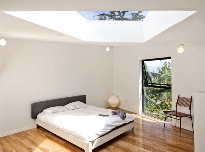 Zolder met lichtkoepel - moderne slaapkamer op zolder