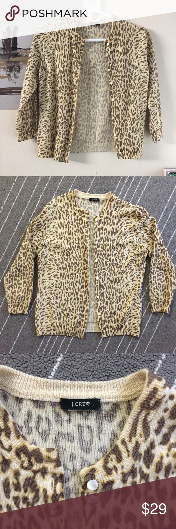 "J crew 100% wool animal print cardigan in brown J crew animal print cardigan brown in color. 100% wool. Size is small. Arm pit to arm pit is about 15"" and length is about 19"". Sleeves are 16"". Size tag has been removed. In excellent condition, no peeling or holes or stains. Ask if have any other questions. J. Crew Sweaters Cardigans"
