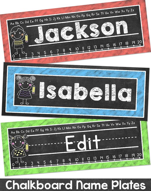 These fun chalkboard theme name plates will look fantastic on student's desks!