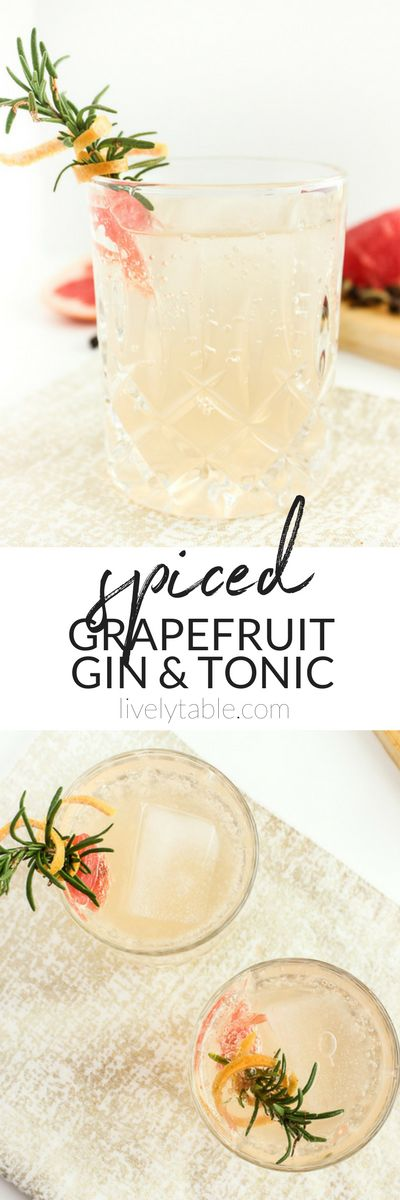 AD The gin and tonic gets holiday upgrade with grapefruit and spiced simple syrup in this Spiced Grapefruit Gin and Tonic. It's a delicious holiday beverage! | #ginandtonic #cocktails #grapefruit #holidays #christmas | via livelytable.com