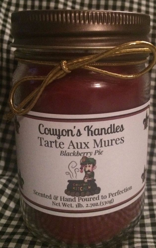 "12 oz. Plain Mason Jar ""Blackberry Pie"" Candle,Double Scented,Premium Wax,YUMMY! #Unbranded"