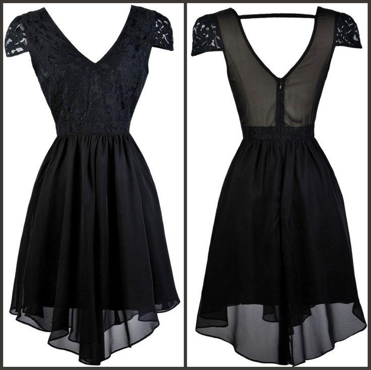 This black capsleeve dress has a flowy asymmetrical hemline:  http://ss1.us/a/imRsjI6U