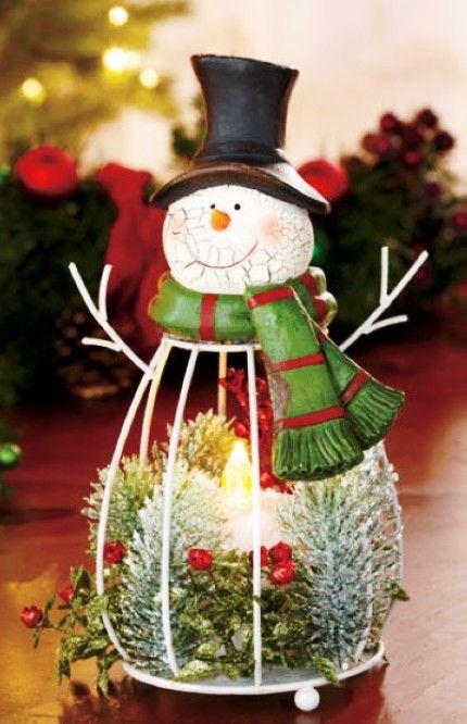 Cute christmas lighted snow man led candle light