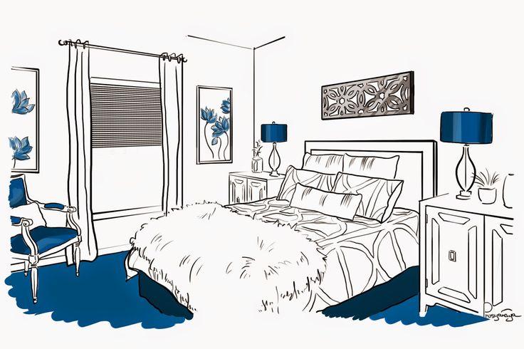 #design #interior #sketch #blue #darkblue #bedroom #bed #white #brodskaya #art #pic #picture #интерьер #дизайн #бродская #ярисую #синий #спальня #белый #рисунок #рисунокотруки #скетч #эскиз #набросок #декор