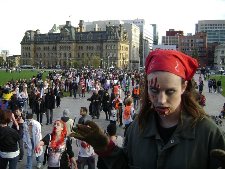 Be a zombie in a Zombie Walk, Ottawa (Parliment Hill)