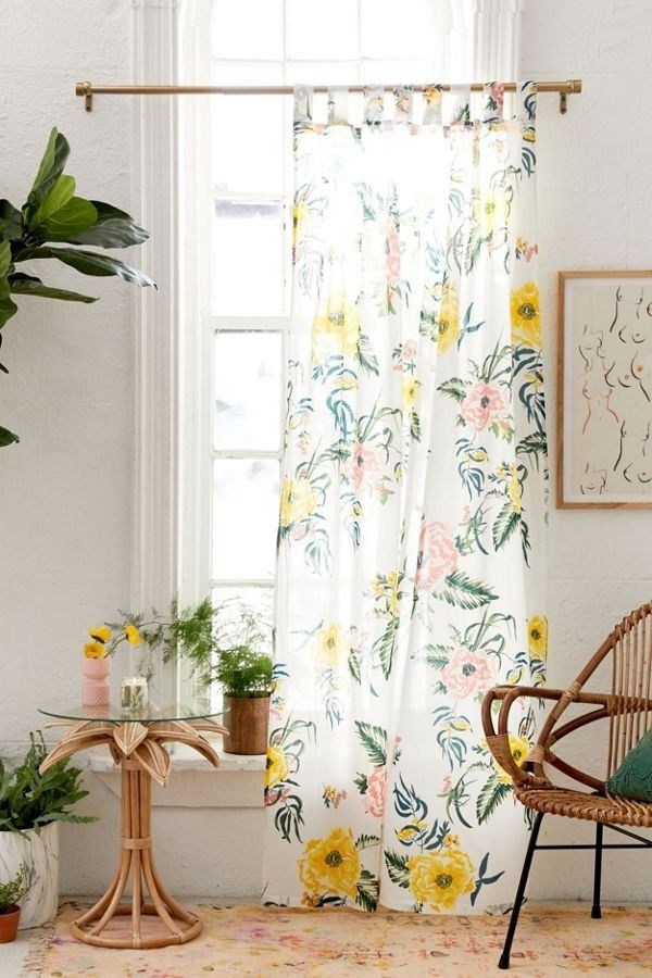Tropical Floral Window Panel With Images Tropical Curtains