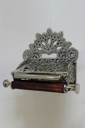 £40 A Traditional Style Metal & Wood Toilet Roll Holder