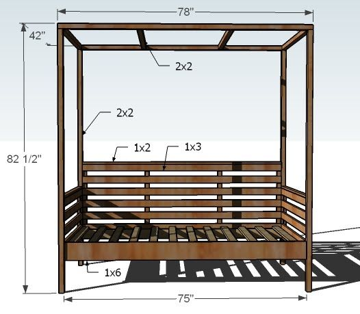 Ana White | Build a Outdoor Daybed with Canopy | Free and Easy DIY Project and Furniture Plans