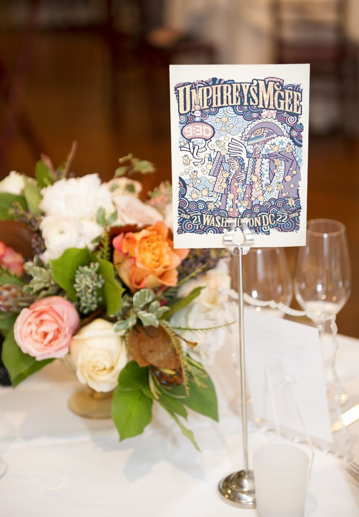 Unique Band-Themed Wedding Reception Table Number Markers | Photo: Lisa Blume Photography | Centerpiece: Highway to Hill Flowers |
