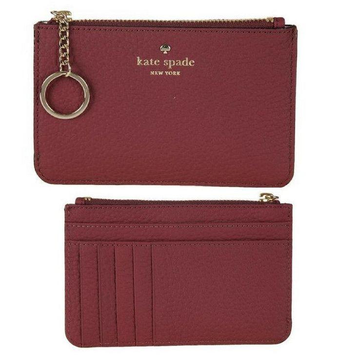 NWT Kate Spade Daniels Drive Großer, roter, schmaler Kreditkarten-Geldbörsen-Schlüsselanhänger aus Leder   – Moda