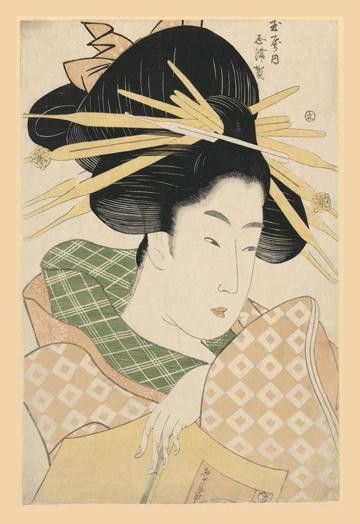 Series: Japanese Prints Artist: Unknown Period: Japanese Ukiyo-e Prints Source country: Japan Source Year: 1850 A Japanese lady pauses as she reads from a book to ponder. 28 inch by 42 inch Giclee pri
