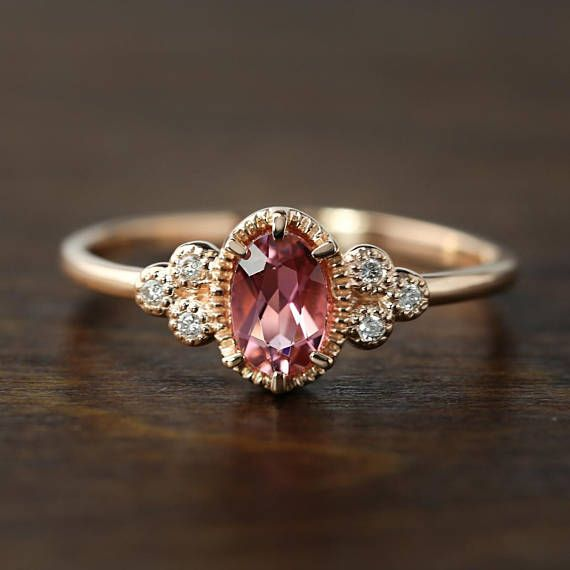 Unique Art Deco Inspired Pink Tourmaline Diamond Ring Comes In A