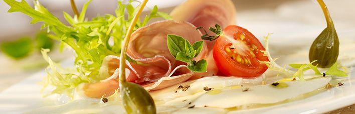 Rezept Mozzarella-Carpaccio mit Kapern und San Daniele Schinken (Prosciutto Italiano Piccolino)