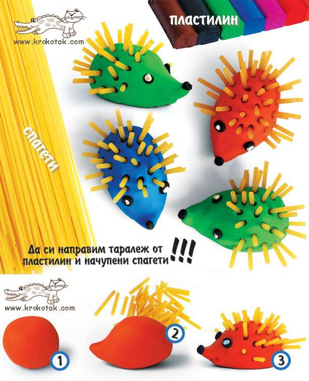 Spaghetti and Plasticine hedgehog craft!