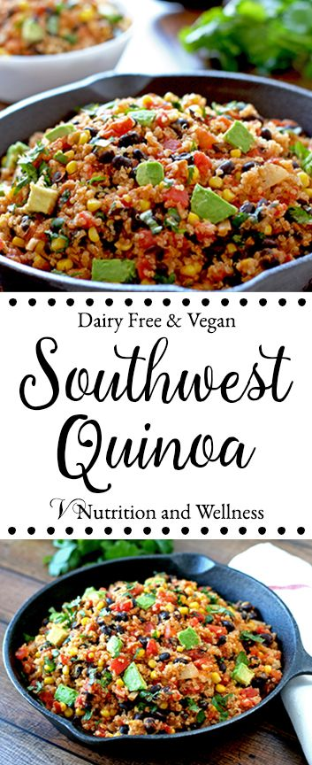 This Southwest Quinoa is and easy dinner and can be served hot or cold. Recipe from: www.vnutritionandwellness.com
