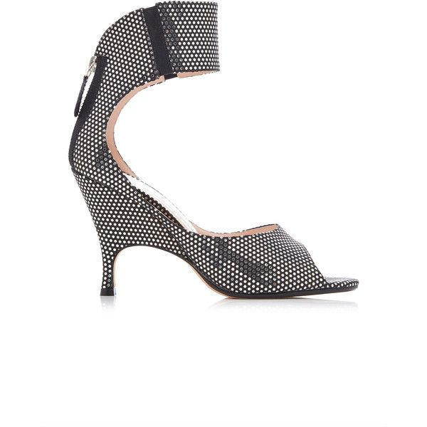 Alchimia di Ballin  Boreal Silver Laser Mirror Wedge ($895) ❤ liked on Polyvore featuring shoes, sandals, silver shoes, silver wedge sandals, mirror sandals, wide strap sandals and wedge heel sandals