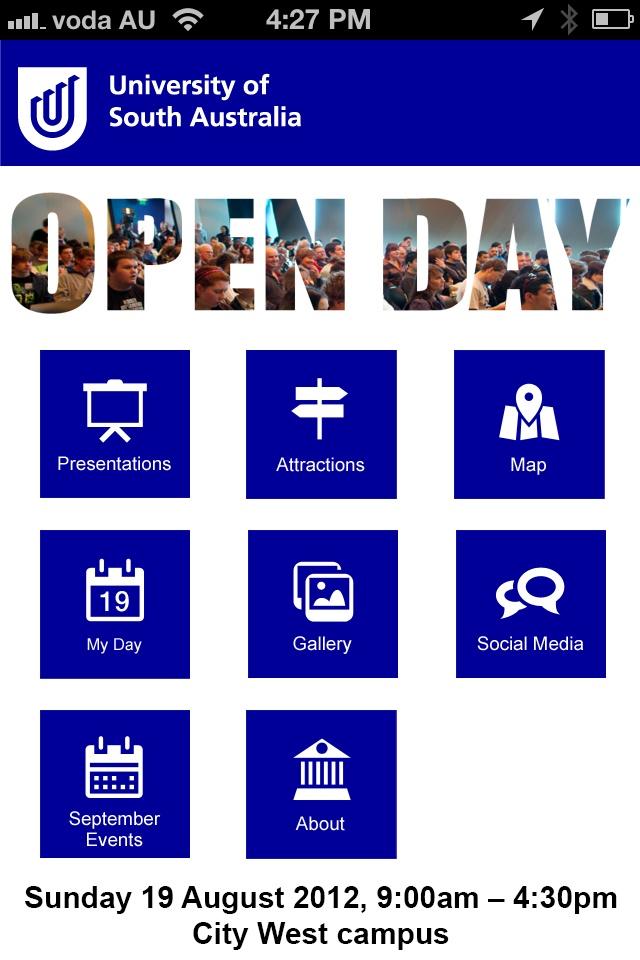 UniSA Open Day 2012 iPhone / Android @UniversitySA