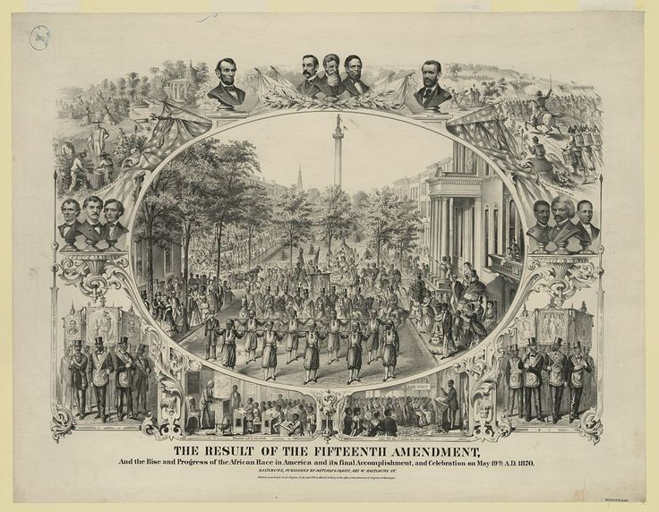 15th amendment   ... enactment on march 30 1870 of the fifteenth amendment and showing the
