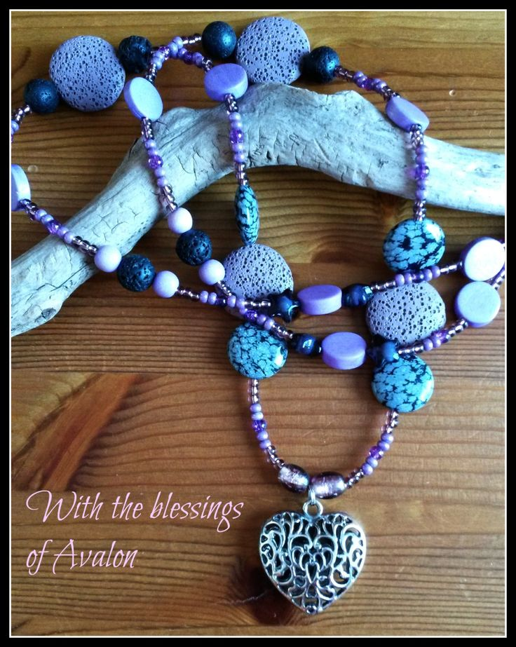 Purple and black Avalon heart necklace by LadySparkleArt on Etsy