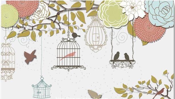 3d обои на заказ росписи нетканого 3d зал обои Ou shigu цветы птицы мода установка стены фото обои для стен 3 d