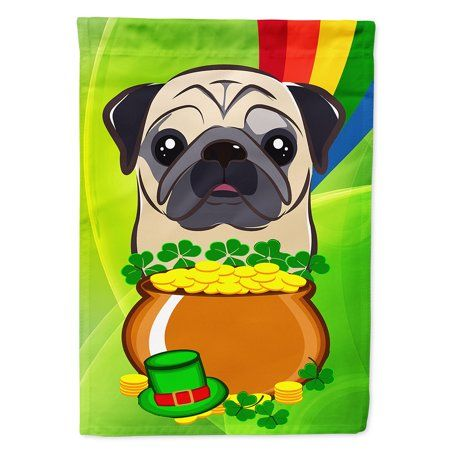 Fawn Pug St Patrick S Day Garden Flag Multicolor Black Pug