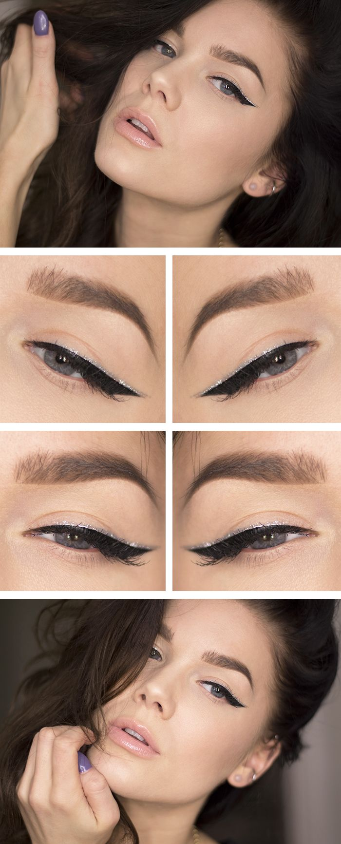Klassisk eyelinerlook med en twist? Måla en glittereyeliner ovanpå din eyeliner och addera lite singelfransar....