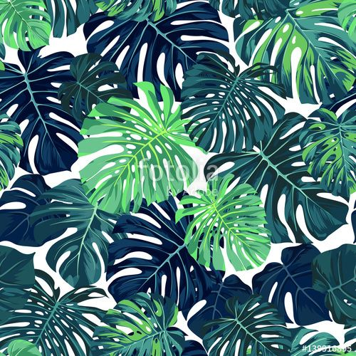 "Download the royalty-free vector ""Green vector pattern with monstera palm leaves on dark background. Seamless summer tropical fabric design."" designed by Ms.Moloko at the lowest price on Fotolia.com. Browse our cheap image bank online to find the perfect stock vector for your marketing projects!"